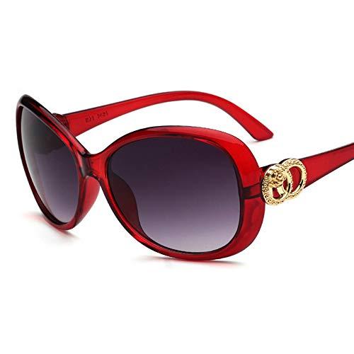 QYY Damen-Sonnenbrille Elegante Rose Frog Mirror Glasses Sunglasses,Red