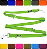 DDOXX Hundeleine Premium Nylon 3fach verstellbar viele Farben & Größen für kleine & große Hunde | Doppelleine Hund groß | Führleine Katze klein | Flexi-Leine Welpe | Hunde-Leinen | M, Grün, 2m