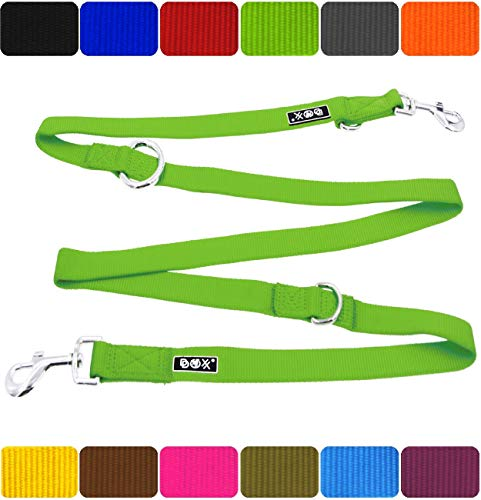DDOXX Hundeleine Premium Nylon 3fach verstellbar viele Farben & Größen für kleine & große Hunde | Doppelleine Hund groß | Führleine Katze klein | Flexi-Leine Welpe | Hunde-Leinen | S, Grün, 2m