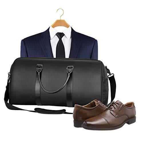 Anzug Reisetasche mit Schuhbeutel und Verstellbarer Schultergurt, Handgepäck kleidersack Anzug für Geschäftsreisen und Sport, Geeignet für Mann und Frau (Schwarz)