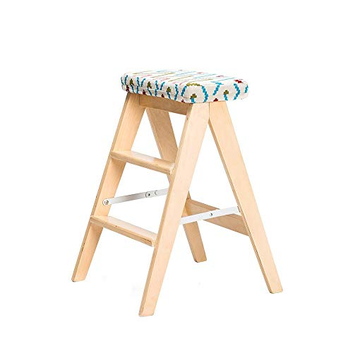 Feifei Klappstühle , Trittleiter, Küchenhocker aus Massivholz , Tragbare kleine Hausbank, abnehmbares und waschbares Kissen - 4 Farben (Color : C) -