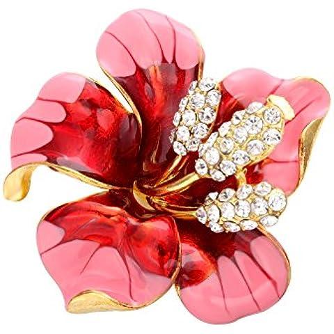 SENFAI vendita calda spilla per donna Fashion Dress Fiori smaltato con cristalli strass Spilla fiore di giglio