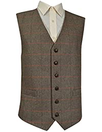 Laine classique traditionnelle à poignée Style Gilet en Tweed à chevrons Motif à carreaux Marron