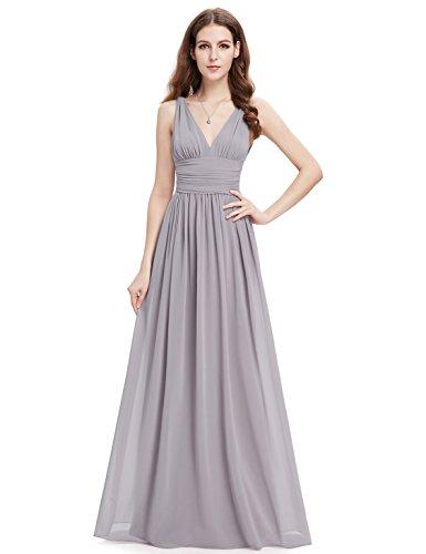 Ever Pretty V-Col Longue Mousseline Robe de soir¨¦e 09016 Gris
