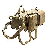 TopTie Tactical Molle Hundegeschirr, verstellbar, mit 3 abnehmbaren Taschen/Patches für mittelgroße und große Hunde