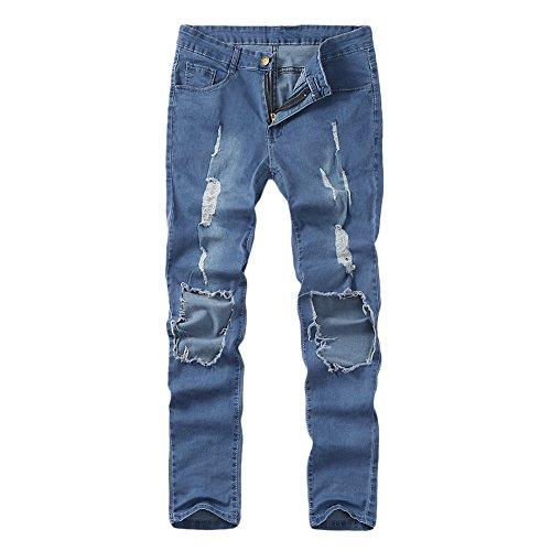 Aoogo Herren Jeans Slim Fit Basic Skinny Hose Mode Casual Destroyed Denim Strech Jeans Männer Zerrissen Denim Freizeithosen