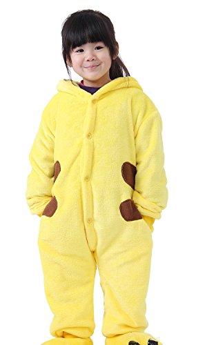 Kostüme Pikachu Mädchen (Yimidear weich und bequem Flanell WC Anime Cartoon Version Tiere Jungen und Mädchen Kinder Schöne Gemeinsame Pyjamas Anzug (120-130cm,)