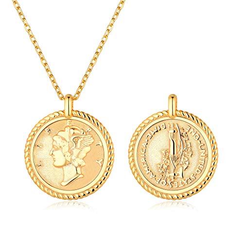 ChicSilver USA Freiheitsstatue Halskette für Frauen 18K Gold plattiert Sterling Silber Anhänger Halsketten mit Rolo Kette 18 Zoll New York ...