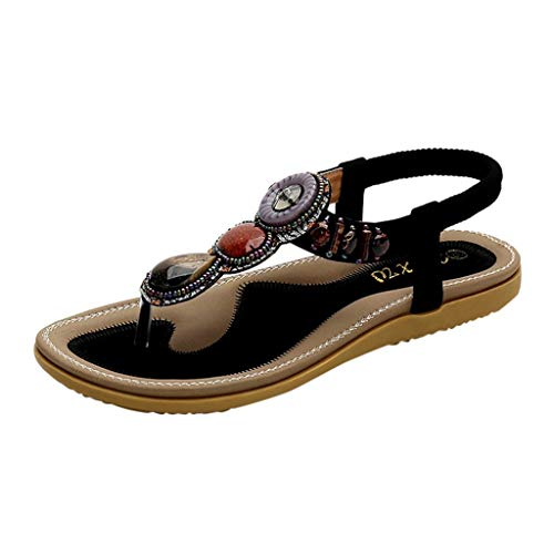 INNEROSE Bohemia Sandali da Donna da Estate PU Cuoio Bassi Origine Roma Vintage Clip Toe Strass Flip Flop Casuale Elegante Gladiatore Sandali Punta Aperta Donna Retro Sandali da Spiaggia