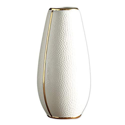 Unbekannt Vase weiße Keramik Vase modernen minimalistischen Wohnzimmer Stecker Blume Continental Home Furnishing Gold Rim Vase Handwerk (Size : M) -