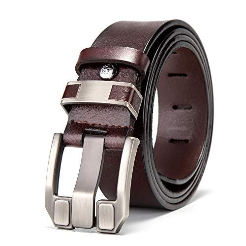 Echtes Bison-leder (BISON DENIM Herren-Ledergürtel, echtes Leder, lässig, modisch, mit Schnalle, Gürtel, für Jeans - - 125 (Taillenumfang :40.5 nach 43))
