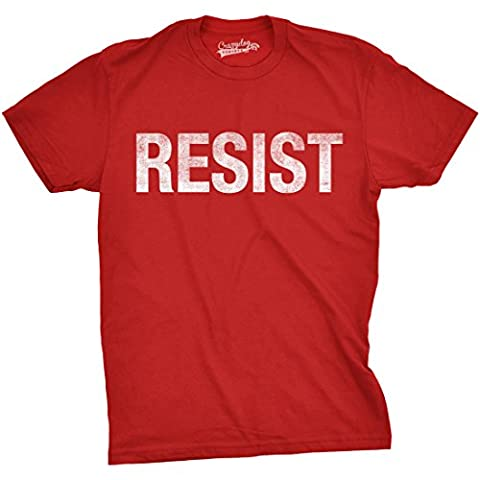 Crazy Dog TShirts - Mens Resist T Shirt United States of America Protest Rebel Political Tee For Guys (Red) - XL - Homme