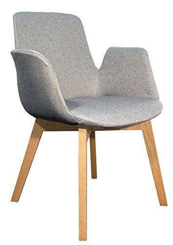 Sessel Gepolstert, Stoff, Fußkreuz aus Holz, Design & Hohe Qualität-Collection loow grau meliert -