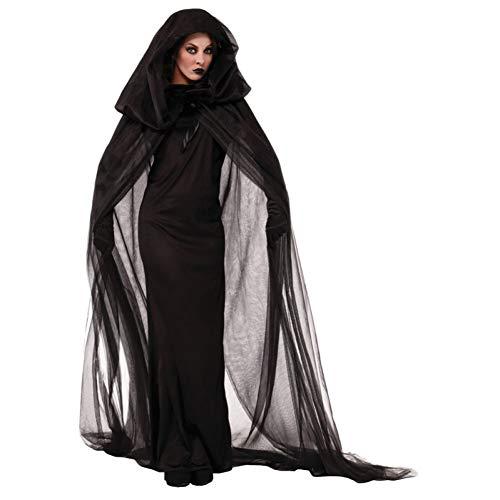 ERFD&GRF Wandernde Seele In Der Nacht Halloween Kostüme Frauen Black Ghost Party Rollen Spielen Hexe Cape Kleider Cosplay Plus Größe 2XL, XL (Vampir Kostüm Plus Größe)