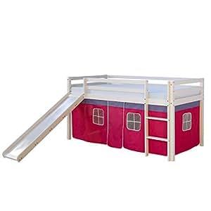 Culla letto bambino letto a castello con scivolo tenda giocare doghe casa e cucina - Letto a castello con scivolo ...