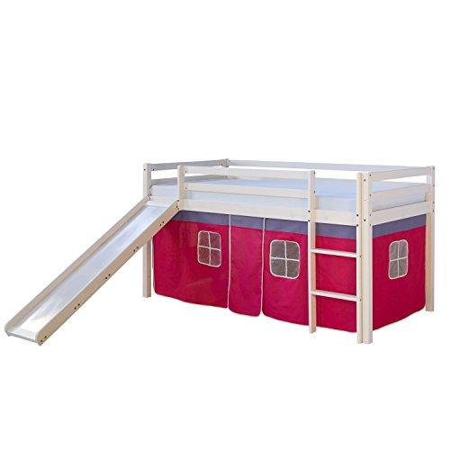 #Homestyle4u Hochbett Kinderbett Spielbett Kinderhochbett weiß mit Vorhang#
