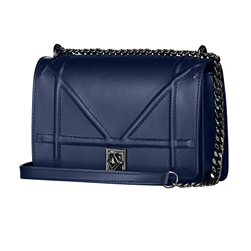 DIONISIA Umhängetasche Handtasche mit Kette und Schließen von Zubehör metallischen dunklem Nickel, gesteppte Glatteleder, Hergestellt in Italien Blau