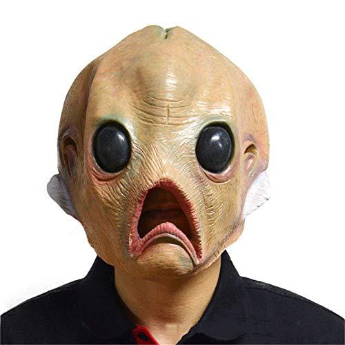 YINGZU Halloween Maske Deluxe Neuheit Kostüm Party Latex Kopf Fun Alien Maske Kostümzubehör Kostümparty oder Events UFO Movie Prop (Deluxe Alien Kostüm)