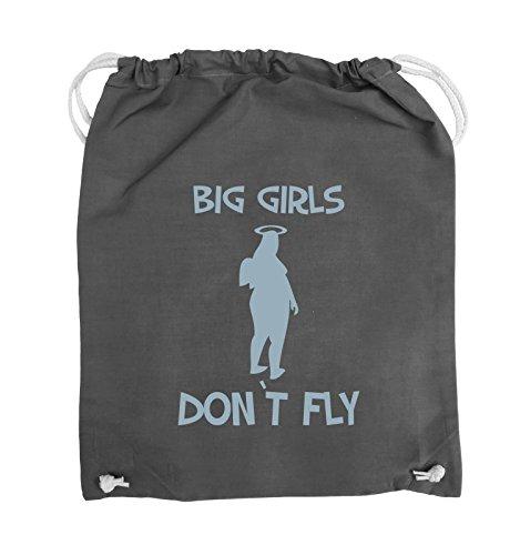 Comedy Bags - BIG GIRLS DON'T FLY - Turnbeutel - 37x46cm - Farbe: Schwarz / Silber Dunkelgrau / Eisblau