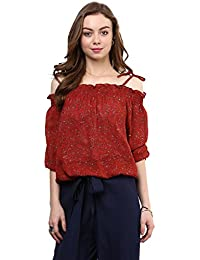 Rare Women's Georgette Printed Off-Shoulder Top