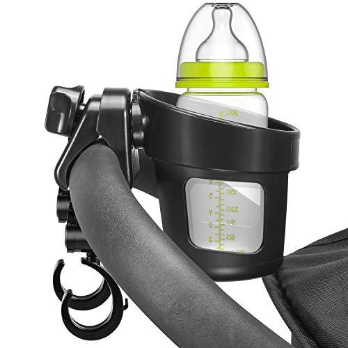 Yosemy Portavasos para Cochecito con 2 Gganchos Carro Bebe 360 Grados Ajustable Universal Portavasos Carrito para Cochecitos y Bicicletas