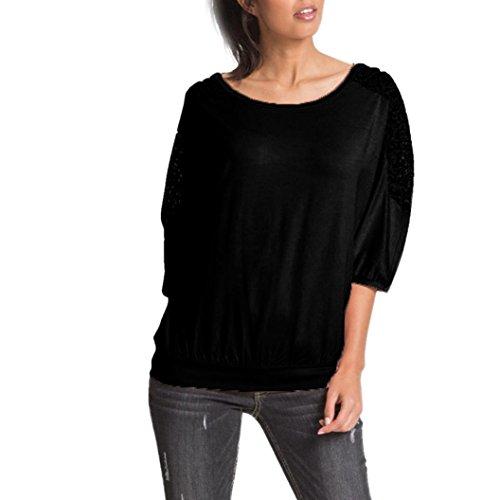 Manadlian T-Shirt, Femmes Coton Tops T-Shirt Manches Longues Dentelle Patchwork Chemise Casual Blouse Lâche Noir