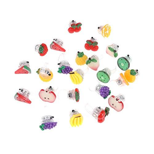 Obst Finger Lichter LED Fingerlicht Fingerring Leuchtringe Mädchen Party Leuchtende Ringe für Karneval Kindergeburtstag Mitgebsel Spielzeug (Zufallsmuster) ()