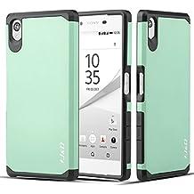 Sony Xperia Z5 Funda, J&D [Armadura Delgada] [Doble Capa] [Protección Pesada] Híbrida Resistente Funda Protectora y Robusta para Sony Xperia Z5 – Turquesa