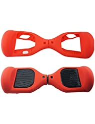 180 Protección Hoverboard Cubierta del caso, Silicona Scratch Protector para 6.5 pulgadas 2 ruedas Self Balancing Scooter Scooter eléctrico (Rojo)