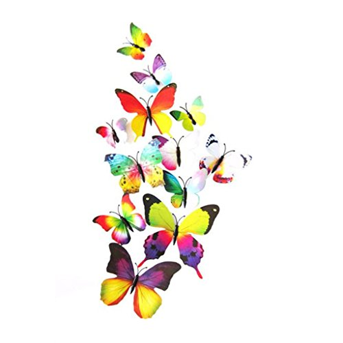 Vovotrade 12pcs Décalque Mur Autocollants Décorations pour la Maison 3D Papillon Arc-en-ciel (multicolore)