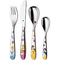 WMF Disney Princesas - Cubertería para niños 4 piezas (tenedor, cuchillo de mesa, cuchara y cuchara pequeña) Kids infantil