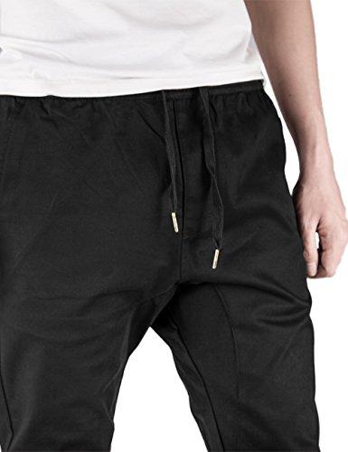 ITALY MORN Uomo Casual Chino Pantaloni Jogging Sport Slim Fit 20 colori Nero