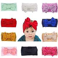 Baby Girl Headbands Newborn Infant Toddler Nylon Knotted Hairbands Bows Elastic Stretchy Soft Hair Band (Nylon Headband 10pcs)