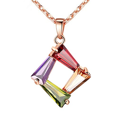 Peora Multicolor 18K Rose Gold Plated Tapered Baguette Shaped Cubic Zirconia Pendant Necklace Jewellery For Women and Girls, Engagement Anniversary Gifts (PFCP2028)