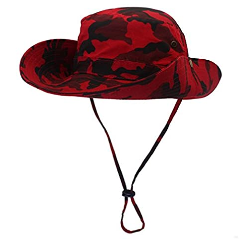 GADIEMENSS UPF 50+ Boonie Hats Summer Sun Cap Wide Brim Camo Outdoor Fishing Hat(Camouflage Red)