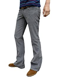 Mens Grey Bootcut Flares Corduroy Retro Hippy Indie Trousers