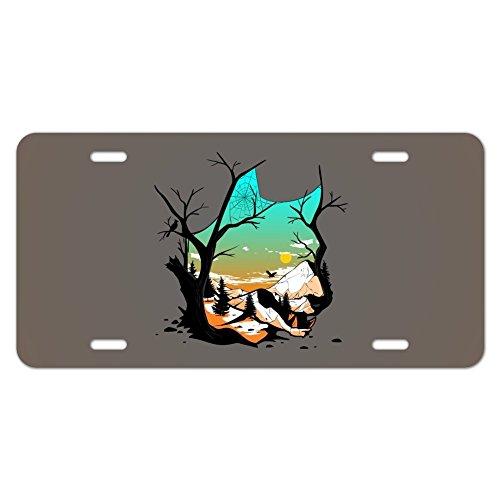 Wolf Mountain Optische Illusion Neuheit Metall Vanity Tag License Plate