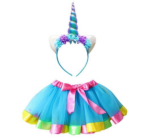 Kostüm Set, 2 in 1 80er Mädchen Regenbogen Set - Regenbogen Ballet Tutu, Einhorn Haarreif für Tanz Party Karneval (2 3 Jahre Alt Kostüme)