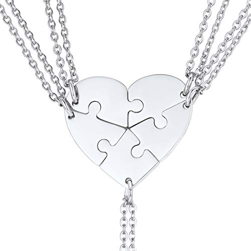 U7 Herz Puzzle Kette Edelstahl 5 Stücke Puzzle-Teile Anhänger Halskette Damen Mädchen Modeschmuck Weihnachten Geschenk für Freundschaft Familien - 5 Herz