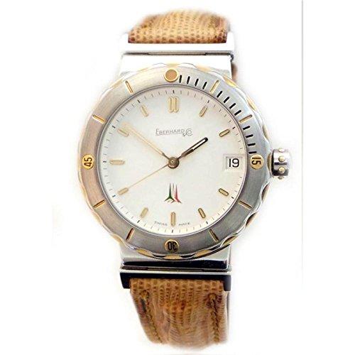 Men Eberhard 42014CP Automatic quandrante Steel White Leather Strap Watch