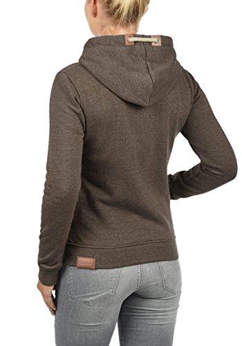 DESIRES Vicky Zip-Hood Damen Sweatjacke Kapuzenjacke Hoodie Mit Kapuze Fleece-Innenseite Und Cross-Over-Kragen, Größe:XS, Farbe:Coffee Bean Melange (8973) - 3