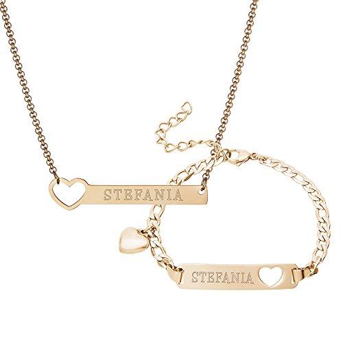 Halskette aus Gold-Edelstahl - Personalisiert mit Namen - Herz Anhänger - Karabinerverschluss - Damen Schmuck Set ()