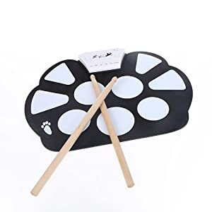 Andoer Electronic Roll up Drum Pad Kit Silicon Foldable with Stick