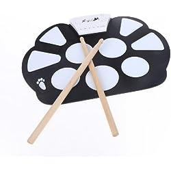 Kit Pad Electrónico Portátil Silicio Plegable con Paltillo, Marca ammoon Enrolle Drum