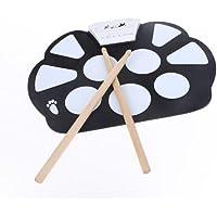 ammoon Portable électronique retrousser Drum Pad Kit silicone pliable avec bâton