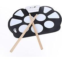ammoon Portátil Electrónico Enrolle Drum Pad Kit Silicio Plegable con el Paltillo