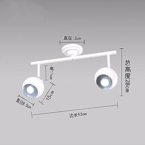 MSUXT lampade a sospensione Loft ingranaggio Creative a doppia testina per lampadari in ferro bianco (Corsia Crema)