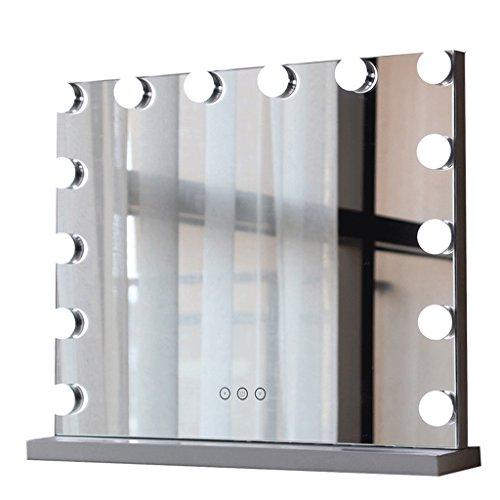 Moolo Schminkspiegel Make-up-Spiegel-Metall-intelligente quadratische LED-Birne Desktop-Eitelkeits-Spiegel-DREI Farben-Fülle-Lampe (größe : 37 * 27cm) - Drei Licht-eitelkeit-wand-lampe