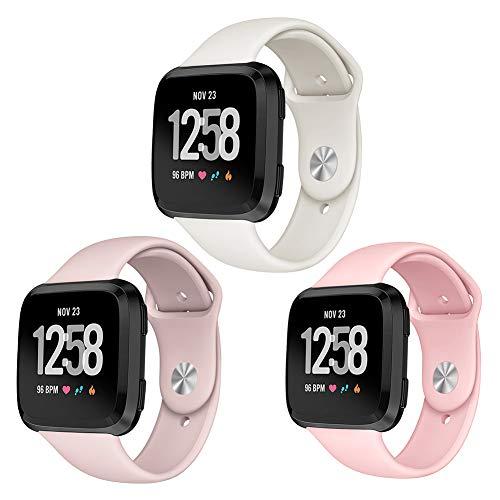 Kmasic Correa para Fitbit Versa, Pulsera de Repuesto de Silicona Suave para Fitbit Versa Smart Fitness Watch (Small, 3 Pack- Arena Rosa/Rosado/Beige)