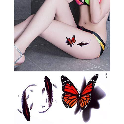 adgkitb 5pcs Flower Butterfly Pattern Design Tätowierung Aufkleber X 090 10.5x6cm